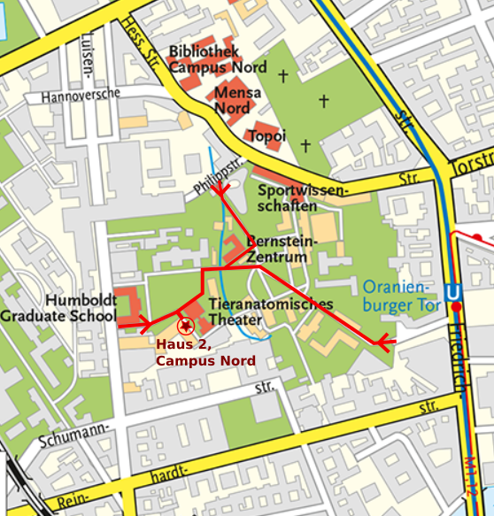 How to navigate the campus towards the offices of the group.